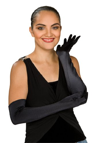 Secret Wishes Black Stretch Satin Opera Costume Gloves, Black, One Size