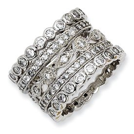 Genuine IceCarats Designer Jewelry Gift Sterling Silver Cz Eternity Five Ring Set Size 6.00
