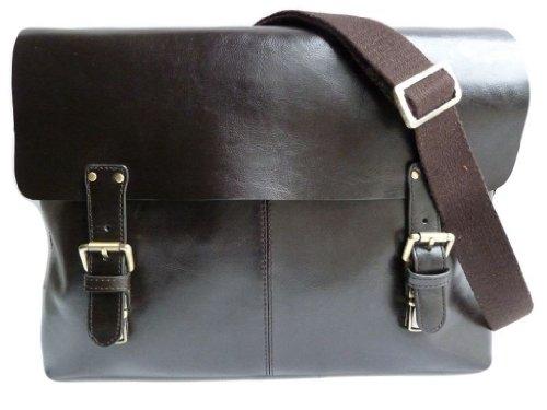 Gusti Genuine Leather Business Bag Satchel Shoulder Bag Vintage College University Campus School Bag Messenger Laptop Office Bag Flapover Briefcase Organiser Bag Unisex B1A