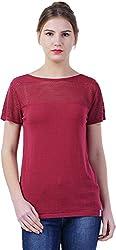 TSAVO Women's Regular Fit Top (1239_RED, Red, X-Small)