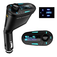 Bsj Multi-function Car Kit Mp3 Player Wireless Fm Transmitter Modulator Audio Aux Usb Sd Mmc Slot With Remote Blue Lcd Car by BSJ
