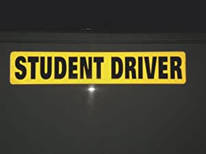 """One Student Driver Magnet - Reflective Vehicle Car Sign - Larger Than the Others - Large 2"""" Letters on a 2.75"""" X 14.5"""" Magnetic - Yellow Reflective Background"""