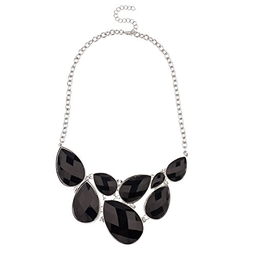 Lux Accessories Faceted Black Teardrop Gemstone Rhinestone Bib Statement Chain Necklace