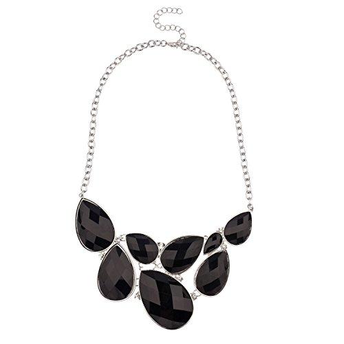 Lux Accessories Faceted Black Teardrop Gemstone Rhinestone Bib Statement Chain Necklace