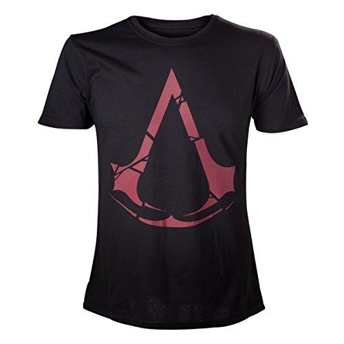 Assassins Creed - Maglietta con motivo stampa del logo rosso - Licenza ufficiale - Cotone - Nero