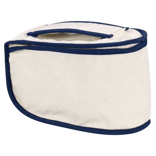 Household Essentials  900 Polyester Cotton Canvas Iron Caddy Storage Bag, Natural, Blue Trim