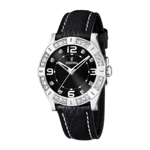 Festina F16537/2 - Reloj analógico de cuarzo para mujer con correa de piel, color negro