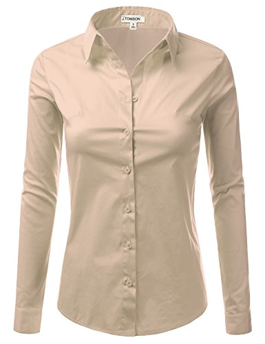J.TOMSON Women's Collared Button Down Long Sleeve Dress Shirt TAUPE L