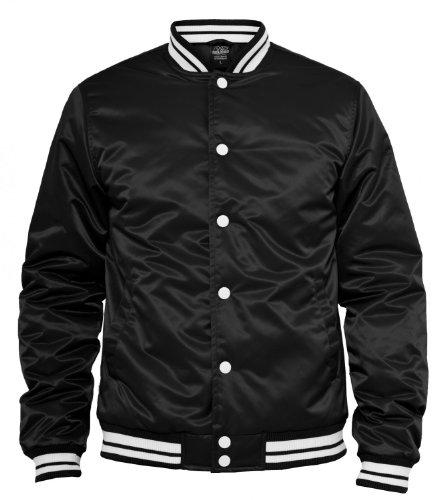 Urban Classics Mens Shiny College Jacket TB350, Farbe:schwarz/weiß;Größe:XXL