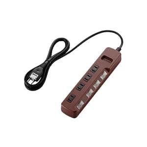 ELECOM 電源タップ color style 雷ガード 省エネ 個別スイッチ 4個口 2m ブラウン T-BR02-2420BR