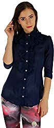 Holidae Women's Poly Georgette Frill Shirt (HI-TP-SH-037_S, Navy Blue, S)