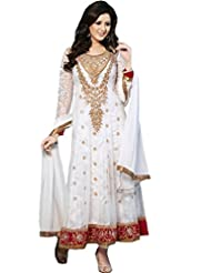Dani Fashions Womens Net Off White Free Size Anarkali Suit