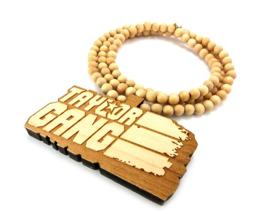 Natural Wooden Taylor Gang Pendant with a 36 Inch Wood Beaded Necklace Wiz Khalifa Chain