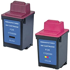 Amsahr 17G0050 Remanufactured Replacement Lexmark Ink Cartridges for Select Printers/Faxes - 1 Black/1 Color