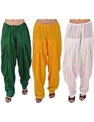 Pistaa Combo Of Women Cotton Dark, Yellow And White Full Patiyala Salwar Pant Bottom