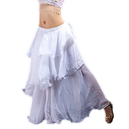AvaCostume Belly Dance Chiffon Tiered Tribal Maxi Skirt