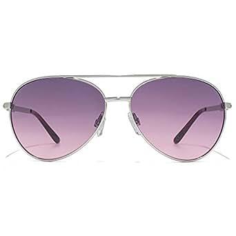 Carvela Diamante Temple Aviator Sunglasses in Shiny Silver CAR020 at