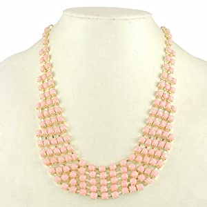 Fashion Multi Layer Frontal Resin Bead Statement Necklace Collar Necklace (Light Pink)