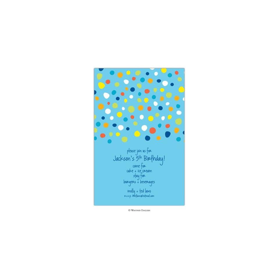 Childrens Birthday Party Invitations   Blue Carter Dot Invitation