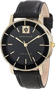 Anne Klein Women's AK/1058BKBK Leo Collection Gold-Tone Wall-to-Wall Crystal Black Leather Strap Watch