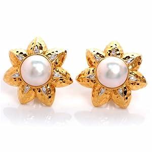 Estate Hammered 18k Gold Flower Diamond Earrings