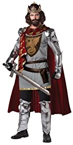 California Costumes Men's King Arthur Adult, Silver/Red, Large
