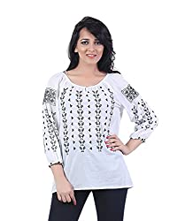 Trendy White Embroidered Top by Bfly