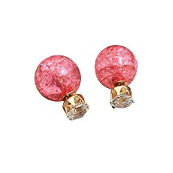 Sorellaz Double Side Crackle Bead Pink Earrings
