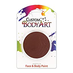 Custom Body Art LARGE 18ml Face Paint Color Single Colors 1-each (Brown) - Great for Parties, Halloween & Birthdays