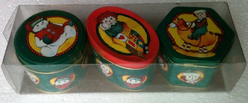 1998 RAGGEDY ANN RAGGEDY ANDY Imported Danish Cookies SNOWDEN COLLECTOR TINS (Pack of 3)