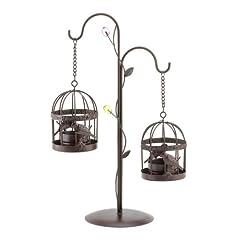 Koehler Home Decorative Hanging Birdcage Duo Figurine Enchanting Tabletop Centerpiece Candleholder