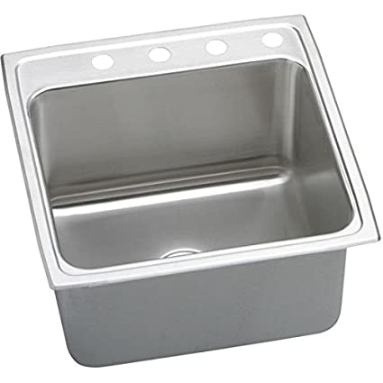 Elkay DLR2222103 3-Hole Gourmet Single Basin Drop-In Stainless Steel Kitchen Sink, 22-Inch x 22-Inch