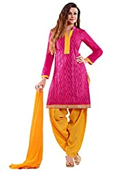 Inddus Women Pink Colored Embroidered Dress material