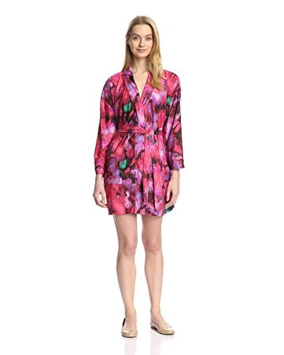 Aegean Apparel Women's Stretch Tricot Kimono Abstract Paint Printed Robe