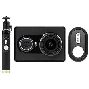 YI Cámara Acuatica Acción Cámara Equipo: Cámara Palo Selfie Bluetooth Remoto Negro