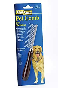 Four Paws Wood Handle Dog Grooming Shedding Comb