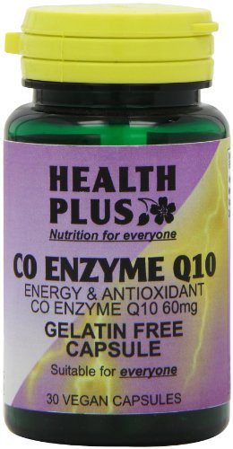 Health Plus Co Enzyme Q10 60mg Energy and Antioxidant Supplement - 30 Gelatin Free Capsules