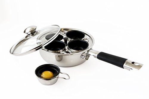 4 Cup 18/10 Stainless Steel Egg Poacher With Silicone Grip (The Egg Cook compare prices)