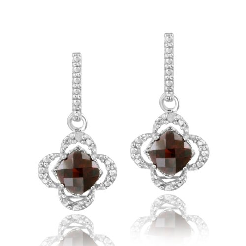 Sterling Silver Garnet & Diamond Accent Flower Dangle Earrings