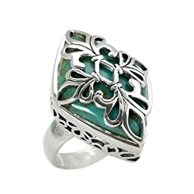 Barse Sterling Silver Turquoise Fleur Ring
