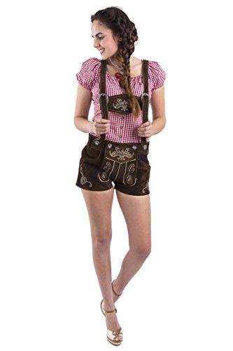 Damen Jugendstil Trachtenlederhose kurz Trachten Hose Mädchen sexy Hotpants Lederhose (34, dunkelbraun) thumbnail
