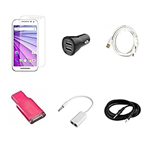 High Quality Combo of Moto G3 Temper Glass + Car Charger 2 USB + Fast Charging Cable + Card Reader + Audio Splitter Cable