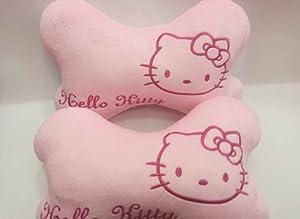 U-beauty 2pcs One Pair Cartoon Cat Hello Kitty Car Headrest Neck Pillow Accessories from U-beauty