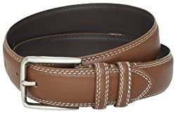 Stacy Adams Men's 35mm Genuine Leather Double Stitched Belt With Keepers, Cognac, 34