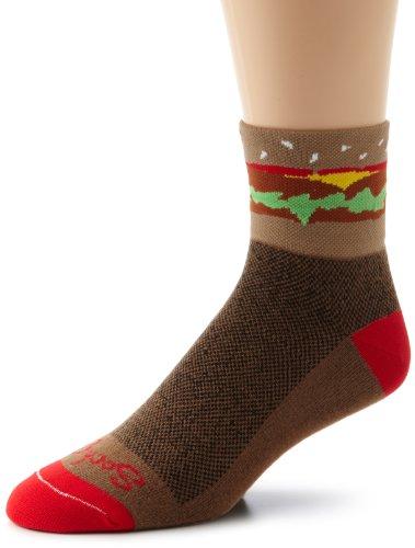 SockGuy Men's Hamburger Time Socks, Brown, Large/X-Large