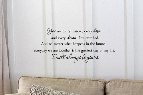 You Are Every Reason, Every Hope And Every Dream I'Ve Ever Had. And No Matter What Happens In The Future, Everyday We Are Together Is The Greatest Day Of My Life. I Will Always Be Yours. -The Notebook Vinyl Wall Art Inspirational Quotes And Saying Home De front-726386