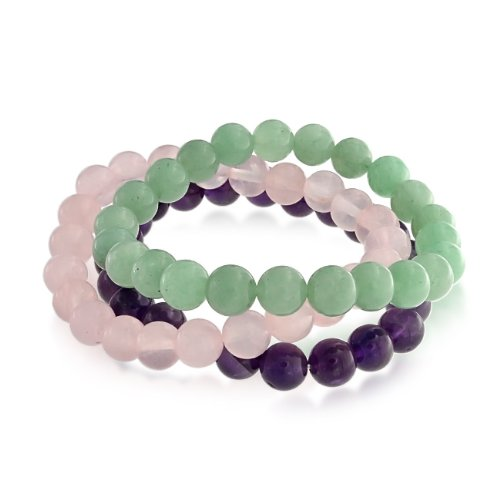 Bling Jewelry Set of 3 Genuine Amethyst Rose Quartz Aventurine Stretch Bracelet