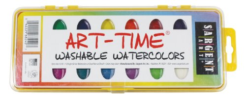 Sargent Art 66-8240 Art Time 16-Count Washable Watercolors Pan Set with Brush