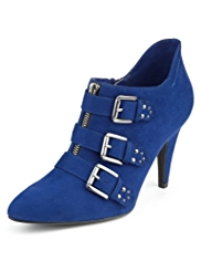 Limited Edition Faux Suede Triple Buckle Shoe Boots with Insolia®