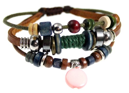 Shell Drop Leather Zen Bracelet, Fully Adjustable, Gift Box